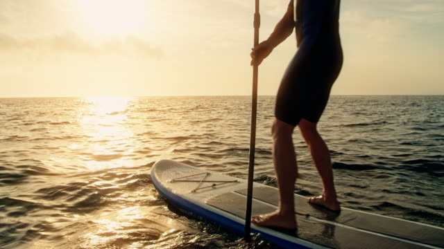 man paddling on his sup at sunset - oar stock videos & royalty-free footage