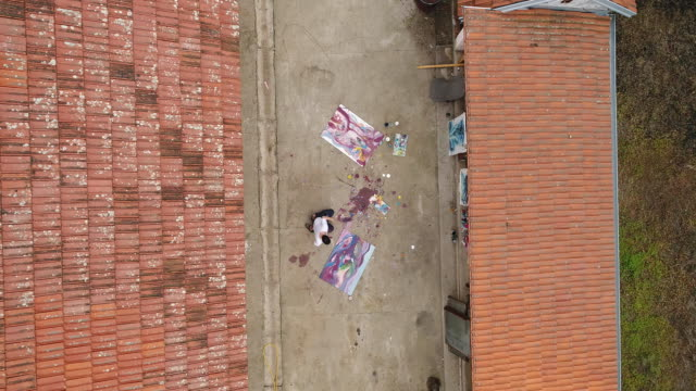Mann auf der Straße Malerei