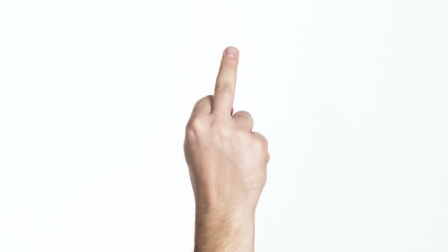 man palm showing middle finger isolated - obscene gesture stock videos and b-roll footage