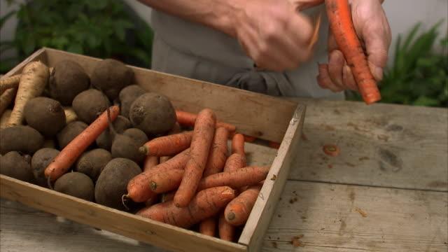vidéos et rushes de man peeling a carrot stockholm sweden. - carotte