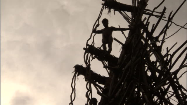 Man peers off wooden tower during land diving ritual, Pentecost, Vanuatu