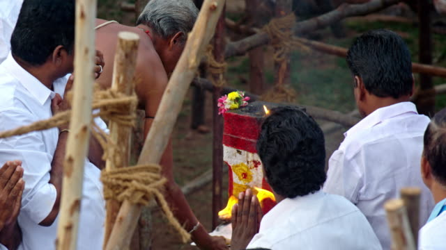 man performing a ceremony during jallikattu at the pongal festival in alanganallur village of tamilnadu, india.jallikattuis the most famous... - human back stock videos & royalty-free footage