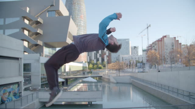 Man performing backflip in Barcelona - Sport Concepts