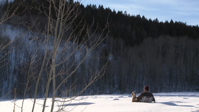 man petting golden retriever and drinking a beer while sitting in lawn chair out in the snow / ketchum, idaho, united states - one mid adult man only stock videos & royalty-free footage