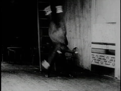 vidéos et rushes de 1920 man picking another man up and throwing him repeatedly against floor then flinging him through revolving section of wall - mur