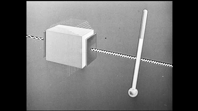 vidéos et rushes de man picking up the mallets and playing the xylophone; animation of white cube in motion and emitting radio waves, which goes through the crystal and... - 1940 1949