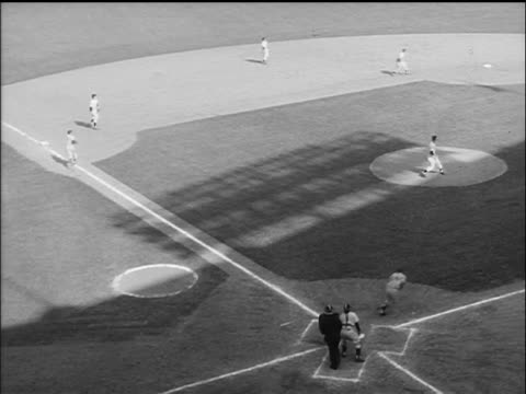 man pitching, batter hitting ball + running to 1st base, man running from 3rd base to home - 1955 stock-videos und b-roll-filmmaterial