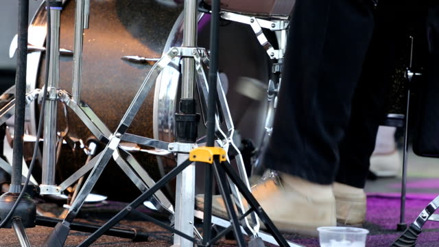 man playing base drum pedal on stage - pedal stock videos & royalty-free footage