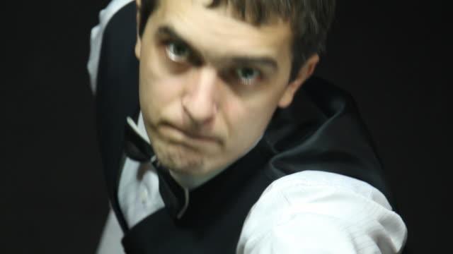 Man playing billiard (snooker) - Macro, Film Montage