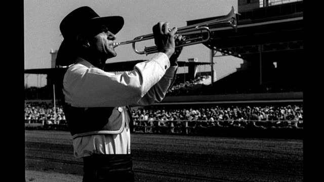 CU man playing bugle playing at Del Mar Racetrack man playing bugle playing at racetrack on September 06 1947 in Del Mar California