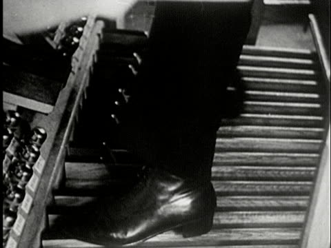 cu, b/w, composite, man playing church organ, usa - パイプオルガン点の映像素材/bロール