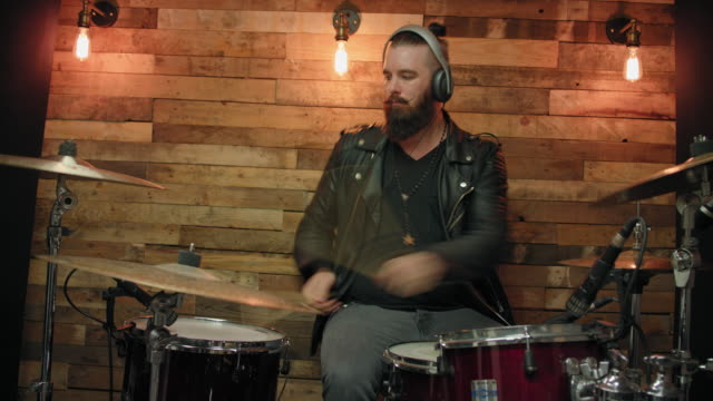 man playing drums - leather jacket stock videos & royalty-free footage
