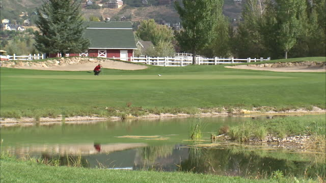 vídeos de stock e filmes b-roll de ls ws man playing golf / provo, utah, usa - provo