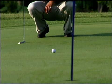 man playing golf - bandierina da golf video stock e b–roll