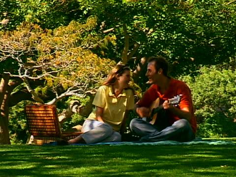 vídeos y material grabado en eventos de stock de man playing guitar - cesta de picnic