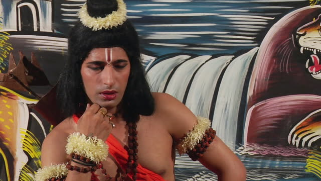 ms zi zo man playing ramlila as ram / gurgaon, haryana, india - ornate stock videos and b-roll footage