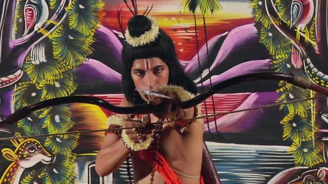 CU ZI Man playing Ramlila as Ram / Gurgaon, Haryana, India