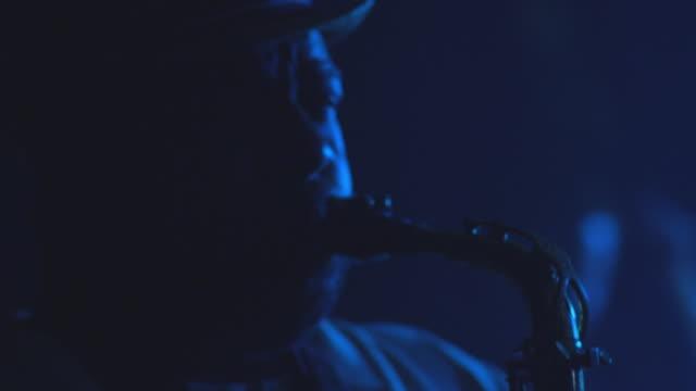 cu tu td man playing saxophone / rockford, illinois, usa - saxophone stock videos and b-roll footage