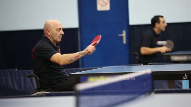 man playing table tennis - paraplegic stock videos & royalty-free footage