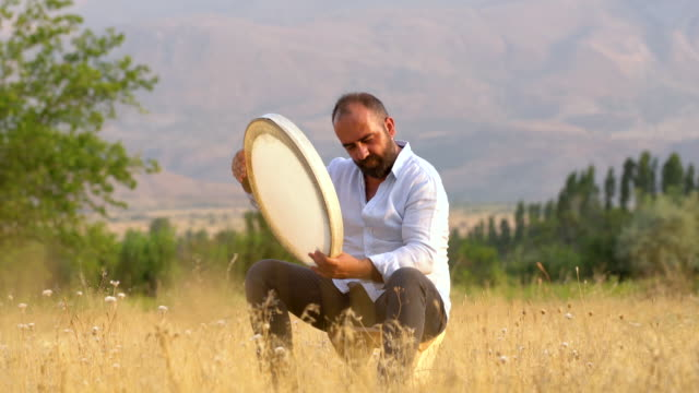 man playing tambourine - turkish ethnicity stock videos & royalty-free footage