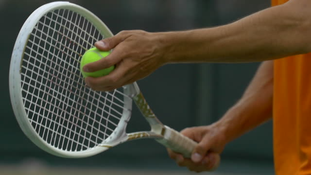 man playing tennis.  - slow motion - tennis racket stock videos & royalty-free footage