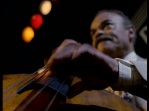 man plays double bass in club new york - jazz stock videos & royalty-free footage