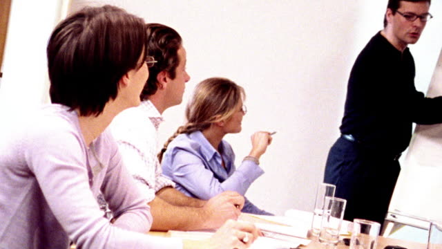 OVEREXPOSED CANTED man pointing to diagram on easel + talking to group at table in conference room