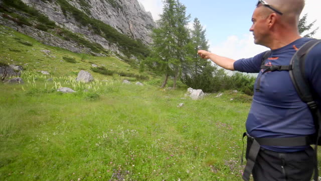 a man points while hiking and backpacking on a trail in the mountains. - completely bald stock videos & royalty-free footage
