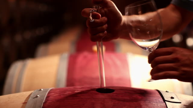 A man pours red wine into a glass in wine cellar