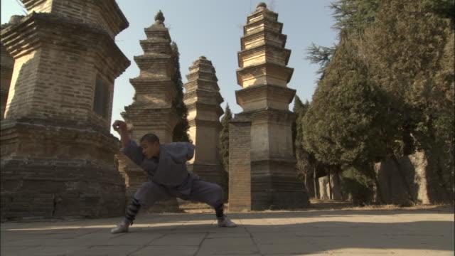 man practices kung fu moves, beijing, china - カンフー点の映像素材/bロール