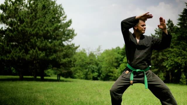 mann üben karate - karate stock-videos und b-roll-filmmaterial