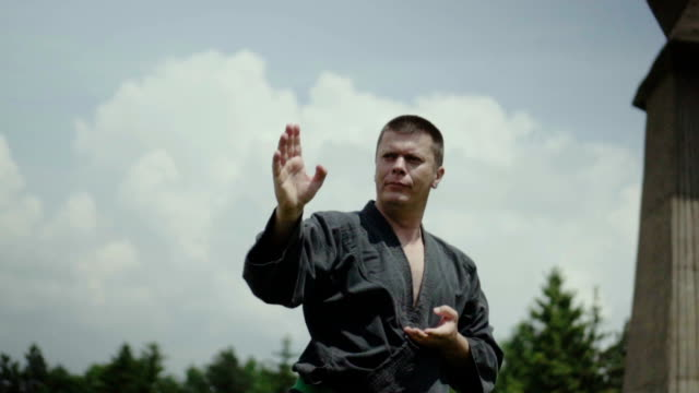 man practicing karate - physical stance stock videos & royalty-free footage