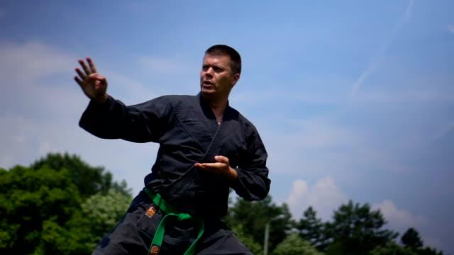 vídeos de stock, filmes e b-roll de homem praticando karate - posição de combate