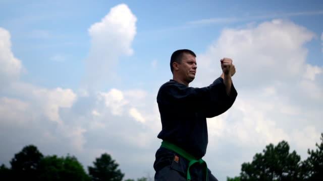 man practicing karate - martial arts stock videos & royalty-free footage