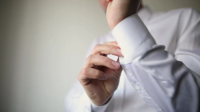 man preparing for a wedding day - button down shirt stock videos & royalty-free footage
