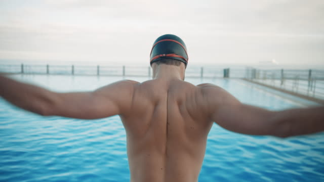 man preparing for swimming - sportsperson stock videos & royalty-free footage