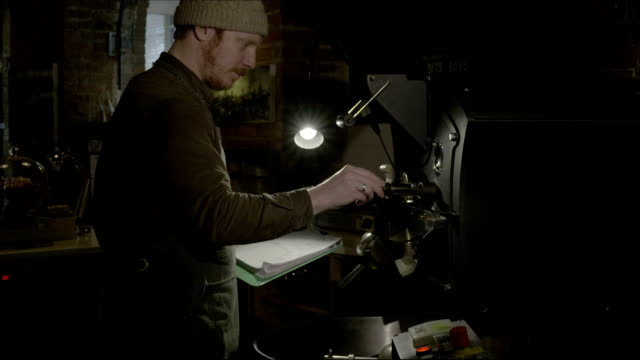 Man preparing machine