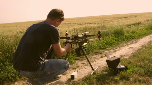 DS-Mann Vorbereitung Stabilisierung auf einer Drohne