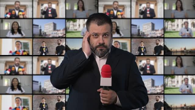 vidéos et rushes de homme présentant des nouvelles - reportage