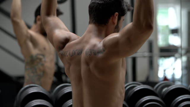 man pumping up muscles with dumbbells - human back stock videos & royalty-free footage