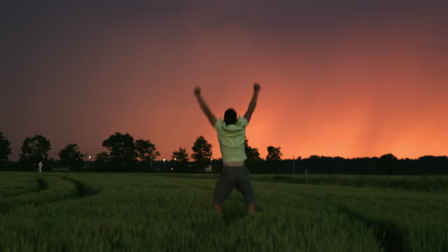 ds man punching the air in a field of wheat at dusk - anticipation stock videos and b-roll footage