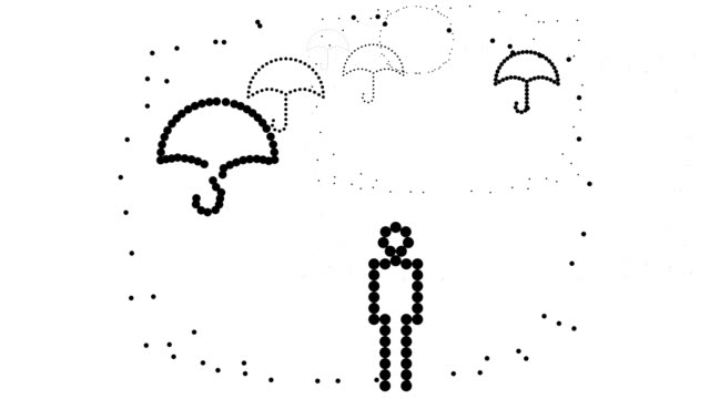 NINE UMBRELLAS - man, pure black dots (LOOP)