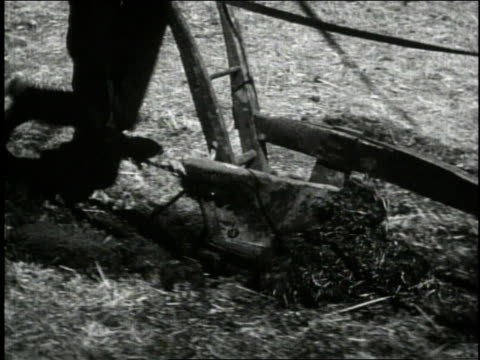 1940 cu man pushing plow in a field / united states - 1940 stock-videos und b-roll-filmmaterial