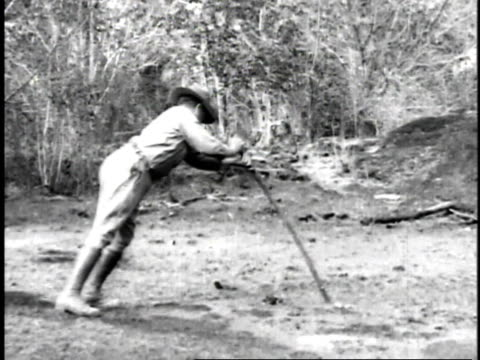 vídeos de stock, filmes e b-roll de 1923 ms man pushing pole into swampy earth in search of oil - 1923