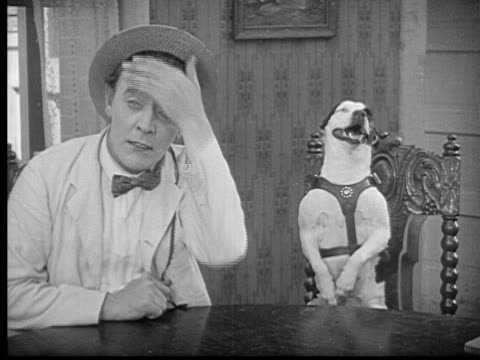 1923 b/w ms man (harry gribbon) putting his hand on his head in exasperation and dog imitates him with his paw / usa - imitation stock videos & royalty-free footage