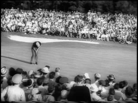 B/W 1958 man putting on green in Masters Tournament / Augusta Georgia