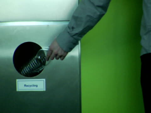 cu, man putting plastic bottle into recycling bin, mid section - bottle stock videos & royalty-free footage
