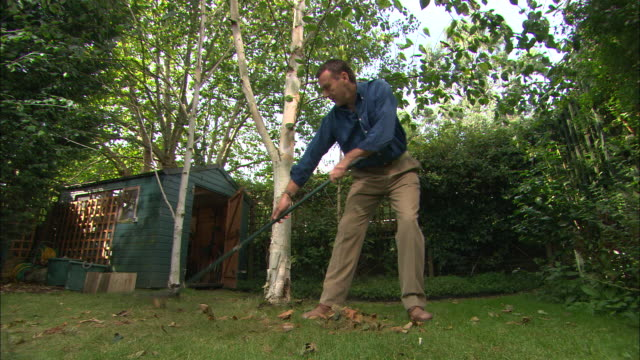vídeos de stock e filmes b-roll de ws man raking leaves near garden shed - só homens maduros