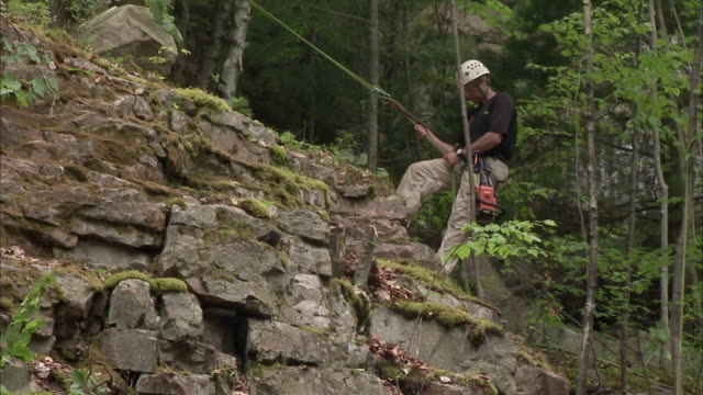 MS ZO WS Man rappelling down rock cliff in forest / Rutland, Vermont, USA