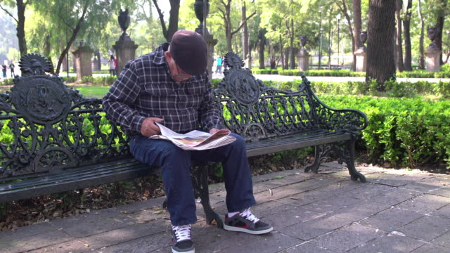 man reading newspaper at a park in mexico - bench stock videos & royalty-free footage